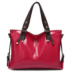 Stylish Waxy Leather High Capacity Clasaic Shoulder Bags Cross-body Bags (Rose Red)