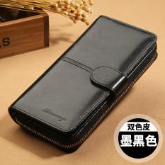 Suasana multifungsi dompet dompet (Berkualitas tinggi kulit sapi lilin minyak tinta hitam)