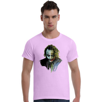 Suicide Squad Joker Art Face Cotton Soft Men Short T-Shirt (Pink)