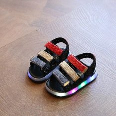 Summer boy girl casual shoes light light LED baby shoes sports sandals(Black) - intl