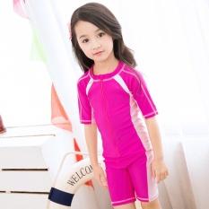 Summer Children Waterproof Swimwear Boys and Girls Sun Protection Beach Surfing Bodysuit (Rose Pink) - intl