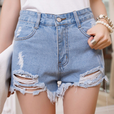 Summer Hole Punk Rock High Waisted Denim Shorts Vintage Ripped Jeans Short - Intl