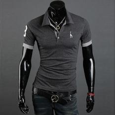 Summer Men's Fashion Casual Short-sleeved T-shirt Korean Slim Shirt POLO Deer Printing Dark Grey