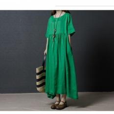Summer New Long Skirt Korean Loose Large Size Fashion Cotton and Linen Short Sleeve Dress - intl