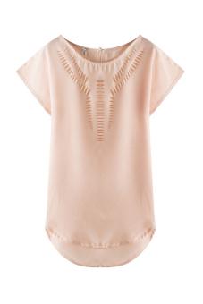Summer Women's Casual Loose Hollow Short Sleeve Chiffon Shirt T-shirt (Beige)