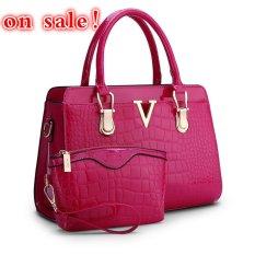 SUNNY SHOP Fashion Patent PU Leather Handbags Socialite Crocodile Grain Women Messenger Bags Fashion Women Shoulder Bags (Red) - Intl