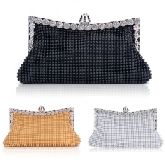 Sunweb Clutch Casual Women's Handbag Lady Party Crystal Evening Bags (Silver)