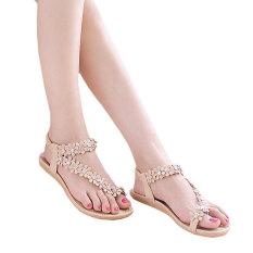 Sunweb Fashion Women Ladies Bohemia Style Floral Resin Rhinestone Elastic Band One Toe Flat Heel Sandal Thong Slipper (Pink) (Intl)