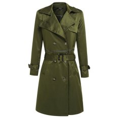 Sunweb Finejo Women Fashion Casual Turn Down Collar Long Sleeve Solid Double Breast Long Trench Coat With Belt (Army Green) - Intl