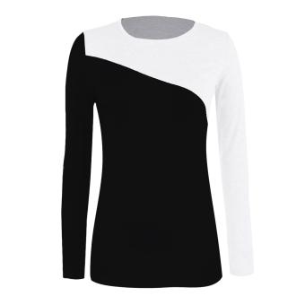 Sunweb Hot Fashion Stylish European Style Lady Women's Long Sleeve Splicing Tops Blouse T-shirt ( Black ) - intl
