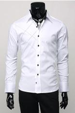 Sunweb Long Sleeve Men's Fashion Stylish Casual Shirt Solid Slim Fit (White)