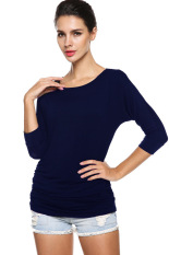 Sunweb Meaneor Ladies T-Shirts Women Casual 3/4 Sleeve Round Neck Solid T-Shirt Slim Top Navy Blue (Intl)