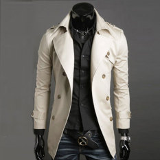 Sunweb Men's Stylish Double Breasted Long Trench Coat Jacket Windbreak 6 Colors (Beige) (Intl)
