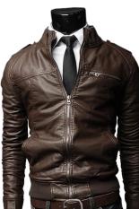 Sunweb New Korean Style Men's Slim Zipper Designed Coat JacketDark Coffee (Intl)