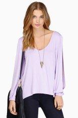 Sunweb Sexy Deep V-Neck Long-Sleeve Lady's Women T-Shirts Purple (Intl)