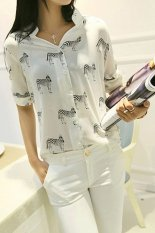 Sunweb Short-sleeve Shirt Female Chiffon Shirt 3/4 Sleeve