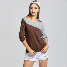 Sunweb Sunweb 2012 Womens Splice Casual Long Sleeve Round Neck T-Shirt 5 Colors (Coffee)