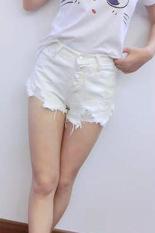 Sunweb Vintage Retro Pants Women Girls Shorts High / Low Waist Tassel Hole Jeans Denim Shorts White
