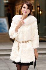 Sunweb Women Winter Warm Faux Fur Coat Padded Collar Coats Jackets Outerwear White (Intl)