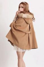 Sunweb Women's Warm Fur Collar Cloak Double Breasted Coat Jacket Camel (Intl)