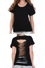 Sunwonder ACEVOG Stylish Lady Women's Fashion Casual Short Sleeve Back Slit Hollow Out Leisure Black T-shirt (Black) (Intl)