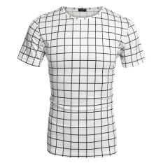 Sunwonder COOFANDY Men Casual Short Sleeve Round Neck Plaid Basic T-Shirt