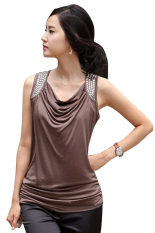Sunwonder Elegant Slim Casual Women T Shirt Tops Blouse Summer (Coffee)