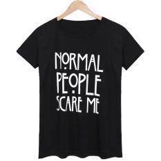 Sunwonder Fashion Women Short Sleeve Letter Print Casual T-Shirt (Black) (Intl)