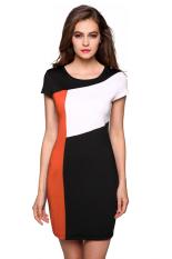 Sunwonder Finejo Ladies Women Cap Sleeve Patchwork Stretch Bodycon Package Hip Casual Party Slim Dress (Orange) (Intl)