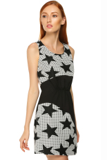 Sunwonder Finejo Sweet Women Star Print Sleeveless Patchwork Summer Dress (Black) (Intl)