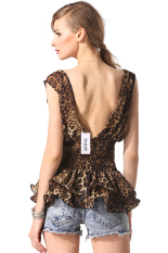 Sunwonder Finejo Women Sexy Fashion Slim V-neck V-back Leopard Chiffon Tops (Leopard) (Intl)