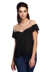 Sunwonder Finejo Women Sweet Mesh Chiffon Patchwork Short Ruffles Sleeve Loose Shirt Tops (Black) (Intl)