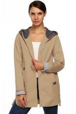 Sunwonder Meaneor Autumn Winter Fashion Women Hoddie Long Sleeve Zip Trench Coat Jacket (Khaki) (Intl)
