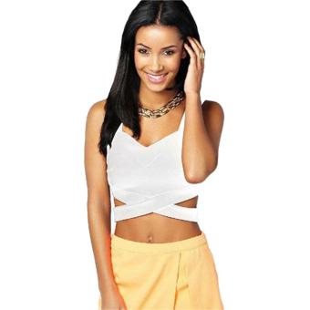 Sunwonder Women Slim Fit Strap Bralet Cross Bandage Cami Vest Tank Crop Top Bustier Clubwear (White) (Intl) - Intl