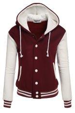 Sunwonder Zeagoo Women Winter Fashion Long Sleeve Patchwork Baseball Hooded Jacket with Fleece (Red&White) (Intl)