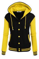 Sunwonder Zeagoo Women Winter Fashion Long Sleeve Patchwork Baseball Hooded Jacket with Fleece (Yellow) (Intl)