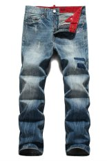 Superably Men Straight Jeans Loose Demin Cargo Jeans Trousers (Intl)