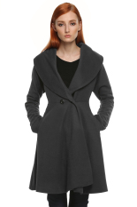 SuperCart ANGVNS Women Winter Elegant Cardigan Wind Jacket Coat (Grey) (Intl)