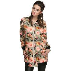 SuperCart Cool Fashion Women Floral Spring Autumn Long Jacket (Black) (Intl)