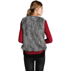 SuperCart Fall Winter Women Faux Fur Vest Winter Vest Sleeveless Waistcoat (Grey) (Intl)