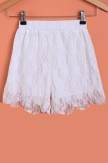 SuperCart Fashion Ladies Women Sweet Lace Floral Elastic Waist Loose Casual Basic Shorts (White) (Intl)