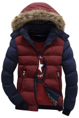 SuperCart Fashion Men Casual Parka Down Coat Hooded Padded Zipper Contrast Color Outwear (Red, Blue)