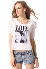 SuperCart Finejo Women Lady Short Sleeve Soft Loose Print Casual T-Shirt Top (White)