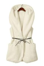 SuperCart Korea Women's Girls Fashion Elegant Warmer Casual Bushy Hoodie Long Vest Coat (White) (Intl)