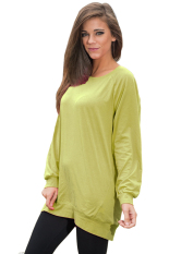 SuperCart Ladies Women Casual O-neck Long Batwing Sleeve Loose T-shirt (Amy Green)