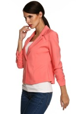 SuperCart Meaneor Ladies Women Lapel Neck Long Sleeve Draped Decor One Button Slim Casual Office Coat Blazer (Watermelon Red) (Intl)