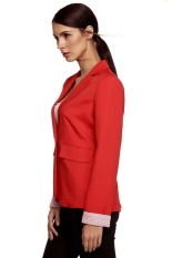 SuperCart Meaneor Stylish Ladies Women Casual Formal Office Solid Suit One Button Blazer Roll-up Stripe Cuffs Tailoring Coat (Red)