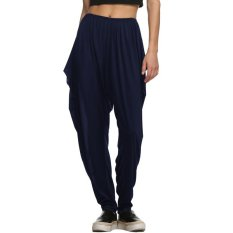SuperCart Meaneor Women Hippie Hip-hop Harem Ruched Long Pants Dance Club Loose Wide Trousers (Navy Blue)