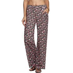 SuperCart Meaneor Women Straight Pants Elastic Waist Casual Loose Print Long Pockets Trousers