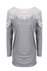 SuperCart Stylish Autumn Winter Women Casual Long Sleeve Round Neck Lace Splicing Patchwork Top Blouse (Grey) (Intl)